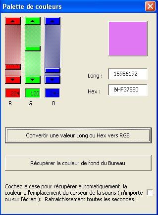 Les couleurs en VBA Excel: Les équivalences Hex-Long-RGB